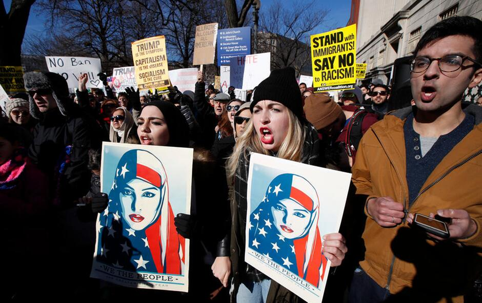 Protests and U.S. Discrict Court Battles Over Trump's Executive Order Banning Muslims